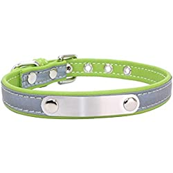 PEHTEN Reflective Leather Personalized Engraved Dog Collar Custom Puppy Cat Pet Collars ID Tag for Free Engrave Name and Phone Number GR L