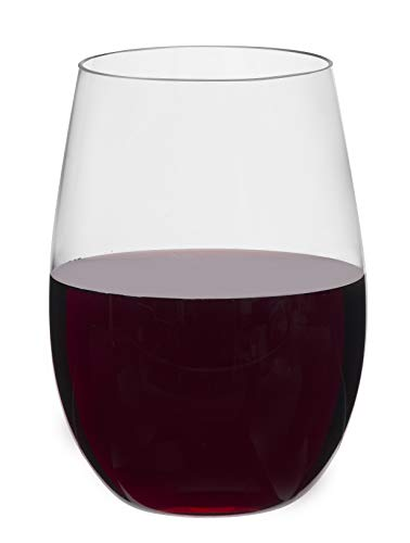 Toasted Drinkware 4- Pack Premium Stemless Clear 16 Oz Plastic Wine Glasses, BPA-Free ()