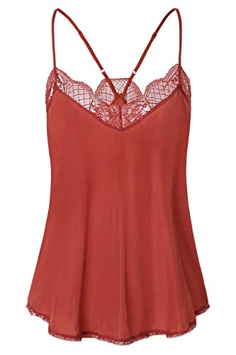 Women's Lace Cami Tank Top Racerback with Adjustable Spaghetti Strap (Large, Color 2)