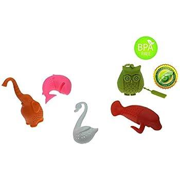 1 Dog 1 Dinosaur Tea Filter MAXGOODS 3PCs Reusable Loose Leaf Silicone Tea Infuser Set,1 Sea Horse