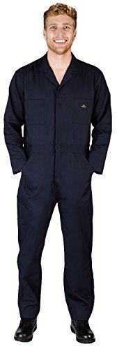 NATURAL WORKWEAR Mens Long Sleeve Basic Blended Coverall, Navy 38100-XXX-Large]()