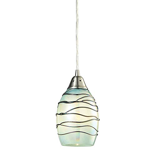 Elk Lighting 31348/1MN Vines Collection 1 Light Pendant, Satin Nickel