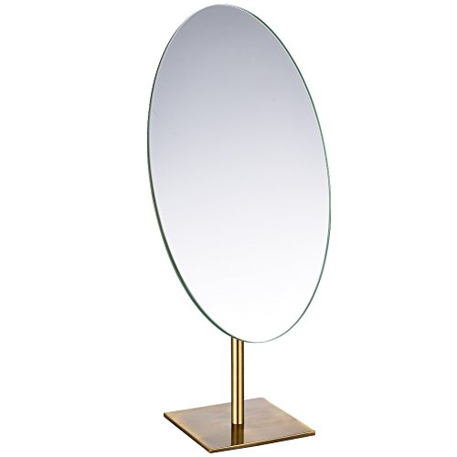 GURUN Tabletop Oval Vanity Makeup Mirror, 7x12 Antique Brass, Luxuries Mirror for -