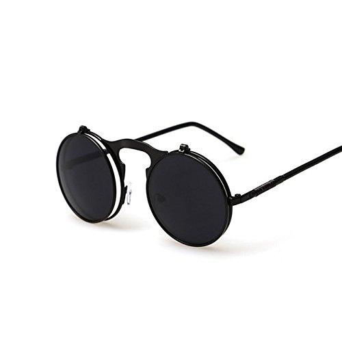 Buildent(TM) Vintage Steampunk Male Sunglasses Round Designer Steam Punk Metal Oculos De Sol Masculino Women Coating Men Retro Sun Glasses [ Black Gray - De Sol Oculos Masculino