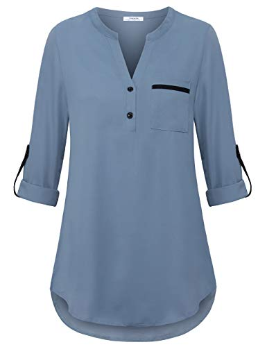 Youtalia Womens Blouses for Work, Ladies 3/4 Cuffed Sleeve Chiffon V Neck Blouse Pleated Shirt Loose Fit Business Casual Tops for Leggings Blue Grey Medium