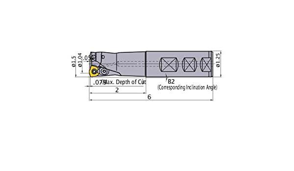 Right Hand Mitsubishi AJXU12R243WA20S Series AJX Face Milling Standard Shank Type 6.000 Length 3 Carbide Inserts 1.500 Cutting Diameter