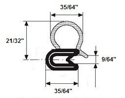 Trim Seal EPDM Closed Cell Sponge Rubber Bulb Seal/PVC/Aluminum with Side Bulb (Length 25 - Pvc Seal