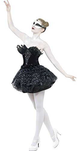 Ladies Black Swan Gothic Ballerina Dark Fallen Angel Witch Animal Bird Film Halloween Fancy Dress Costume Outfit (UK 16-18)]()
