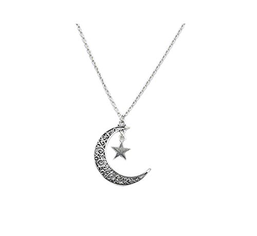 Fusicase Silver-Tone Crescent Moon Pendant Necklace with Hollow Out Tree Yin Yang Sun Basketball Star HexagonCharm Gift Jewelry