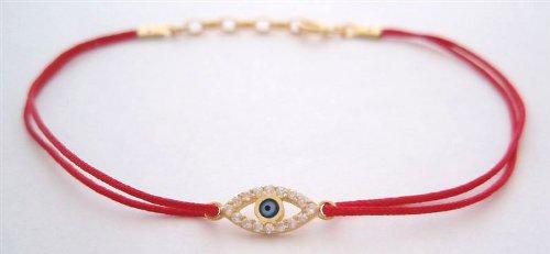 Sterling Silver Red String Kabbalah Bracelet with Zircon Evil Eye Charm