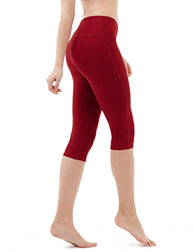 TSLA Yoga 17 Inches Capri Mid-Waist Pants w Hidden Pocket, Yogabasic Thick Midwaist(fyc21) - Wine, X-Small (Size 4-6_Hip35-37 Inch)