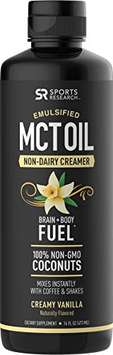 Cheap Emulsified MCT Oil (16oz) Made from Non-GMO Coconuts ~ Non-Dairy Creamer for Cold Brew, Keto Coffee, Protein Shakes, Salads & More ~ No Blending Required ! (Creamy Vanilla Flavor)