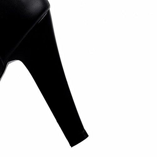 AllhqFashion Mujeres Caña Alta Cremallera Puntera Redonda Tacón de aguja Botas con Encaje Negro