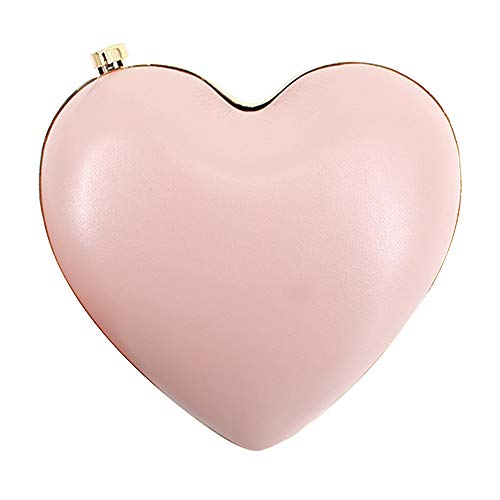Sun Kea Womens Girls Heart Shaped Crossbody Bag Mini Chain Clutch Handbag Purse, Pink