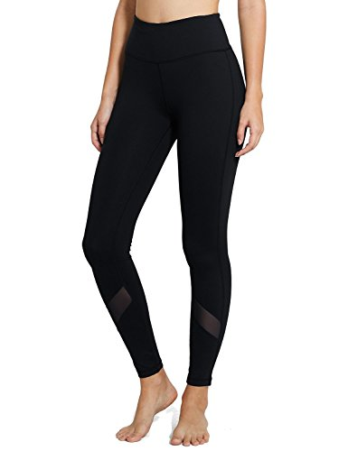 Baleaf Women's High Waist Mesh Yoga Pants Tummy Control Leggings Hidden Pocket Black Size M