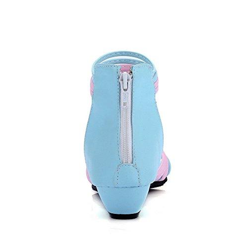 Cuña de Tacón Puntera Mujeres Azul Surtidos Sandalia Colores Mini Abierta Cremallera Odomolor q4ax61Rvww