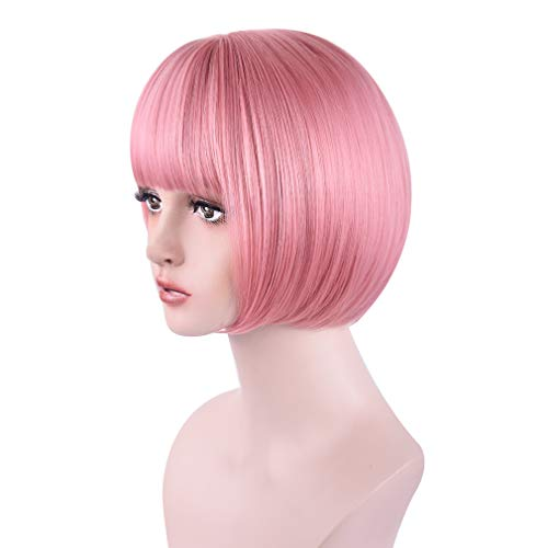 REECHO 11 Short Bob Wig with bangs Cosplay Synthetic Hair for White Black Women Color: Princess Pink
