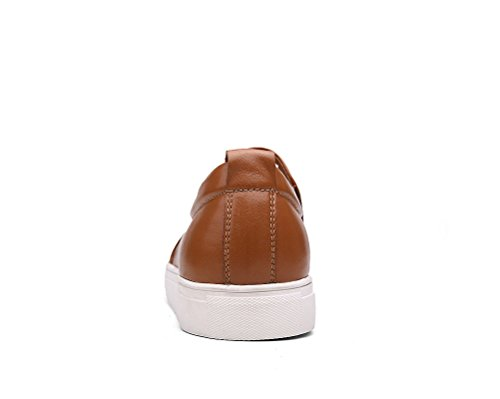 Bull Titan Hombres Classic Leather Loafer Slip-on Casual Zapatos Marrón