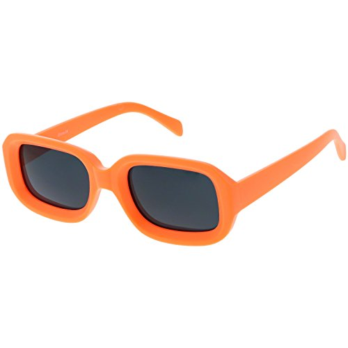 sunglassLA - Chunky Matte Finish Rectangle Sunglasses Neutral Colored Lens 50mm (Orange / - Sunglass Finish Lenses Matte