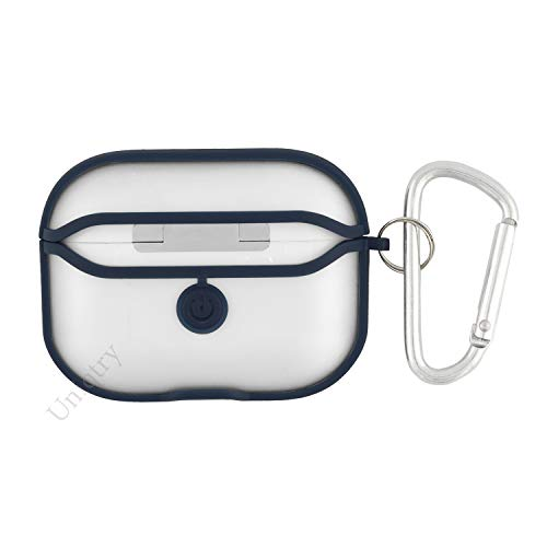 UniqTry Transparent Hybrid Hard Protective Case | Shock Proof Protective Transparent Frosted with Carabiner Hook | Compatible with Apple AirPods Pro – Blue