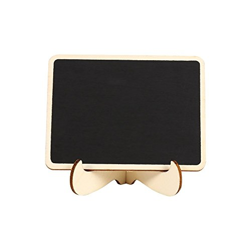 Mini Chalkboards Signs with Easel Stand Wood Blackboard for Message Board Wedding Party Table Numbers, Rectangle Set of 10 Photo #2