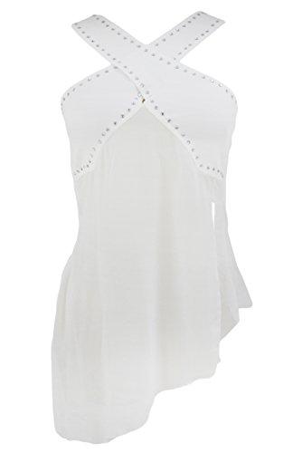 O&W Womens White Halterneck Diamond Wide Crisscross Straps Irregular Chiffon Club Top Blouse L