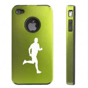 Apple iPhone 4 4S 4 Green D3074 Aluminum & Silicone Case Cover Male Runner