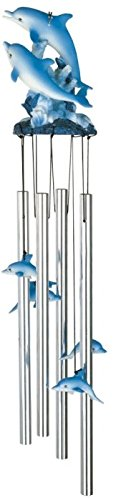 George S. Chen Imports SS-G-41855 Round Top Dolphin Hanging Garden Porch Decoration Decor Wind Chime