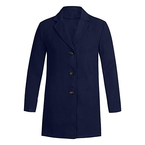 Trench Coat Button Slim Long Sleeve Jacket for Winter(Navy,S) ()