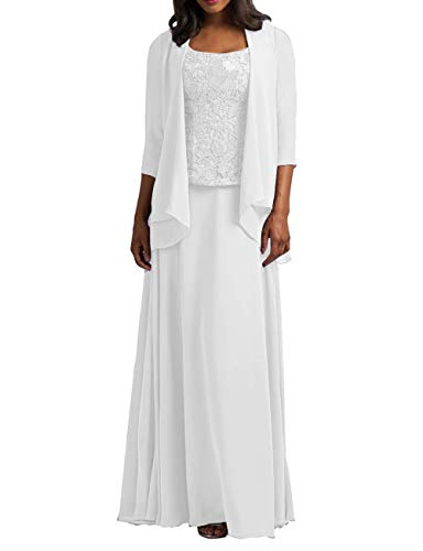 Cdress Chiffon Mother of The Bride Dresses with Jacket Long Evening Formal Gowns Plus Size Lace Prom Dress White US 16W