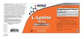 NOW Foods L-lysine 500 mg, 250 Capsules (Pack of 2)