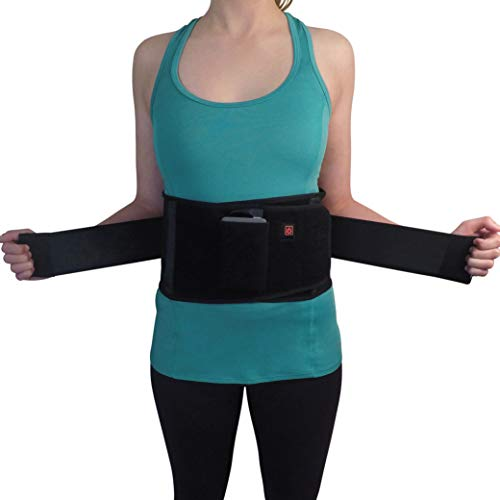 (FitBack Lumbar Support Back Brace Belt w/Battery Powered Adjustable Heat for Pain Relief Anywhere - Office Chair, Desk, Car, Work, Weight Lifting. Lower Back Pain & Muscle Strain Relief (Large))