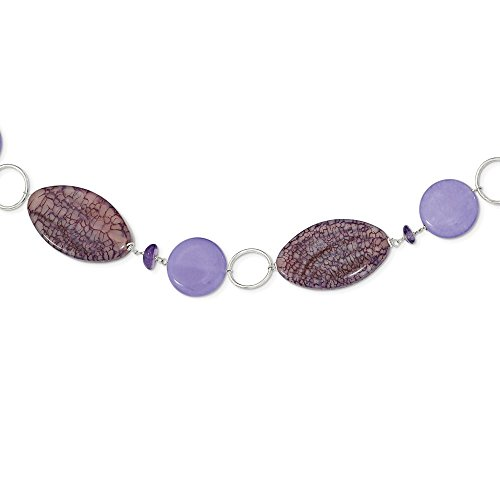 Solid 925 Sterling Silver Lepidolite/Lavender Simulated Jade/Simulated Amethyst Necklace Chain 16