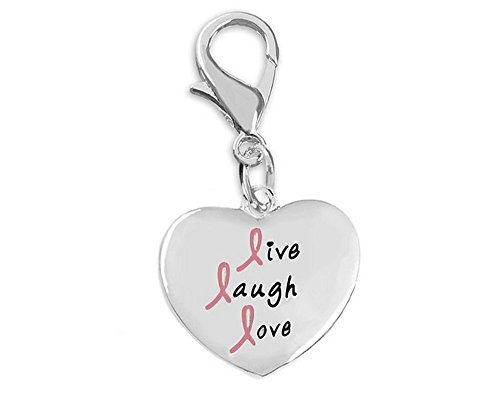 Breast Cancer Awareness Live Laugh Love Pink Ribbon Hanging Charm