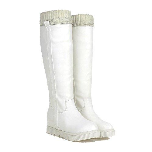 Allhqfashion Matière Douce Arrondi Fermeture À Glissière Solide Haut-haut Kitten-heels Bottes Blanc