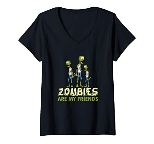 Womens Halloween Zombies Are My Friends Funny Gift