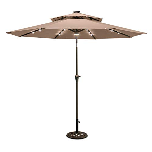 TisYourSeason 9 Double Top Solar LED Lighted Patio Umbrella with 8 Ribs Tilt Adjustment and Crank Sesame