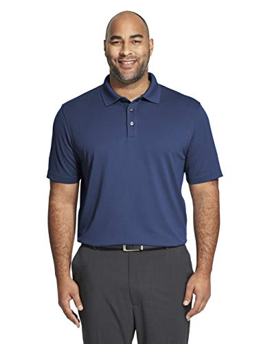 Van Heusen Men's Big and Tall Short Sleeve Air Performance Ottoman Stripe Polo Shirt, Blue Depths, 2X-Large Tall
