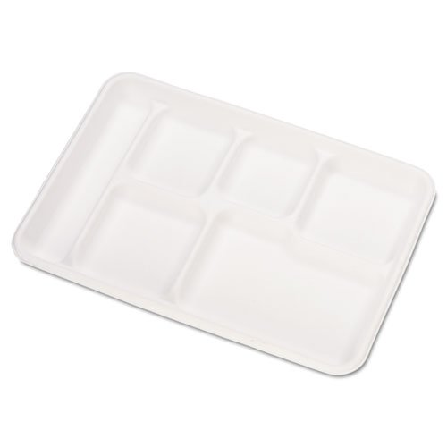 Chinet Heavy-Weight Molded Fiber Café Tray, 6-Compartment, 8 1/2x12 1/2, 125/Bag - 500 Trays per case, 125 per Bag.