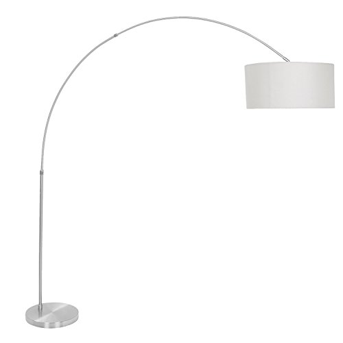WOYBR LS-L-SALFLR GY Fabric Shade, Brushed Steel Salon Floor (Lumisource Contemporary Floor Lamp)