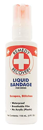 Remedy + Recovery Liquid Bandage for Dogs, 4-Ounce Spray for Nicks, Cuts, Scrapes and Stitches, Waterproof Bandage, No Acrylic, No Plastic, Breathable Film, Soothing, No Sting