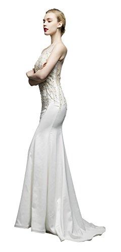 Jessie Q Women's Sweetheart Neckline Heavy Beading Ivory Evening Dress (Beadings Sweetheart Neckline)