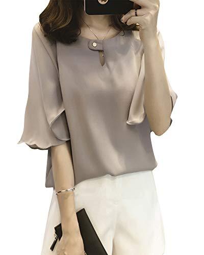Manches Taille Femme Couleur Grande Top Blouse Longues Gris Unie Chemisier Fluide xIOtww5Fq