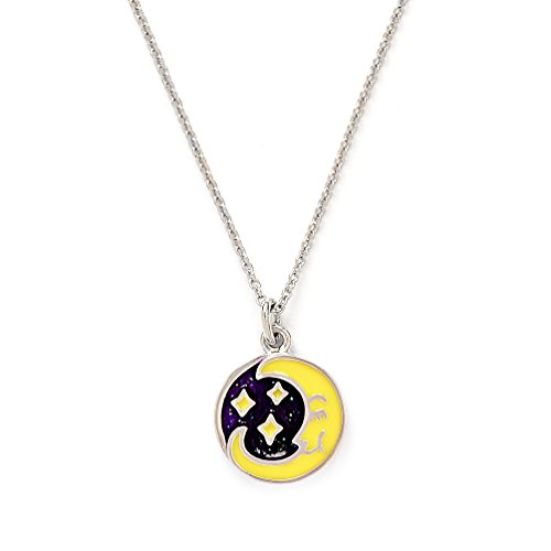 Girls Silver Rhodium Plated Wishes Moon Pendant Expandable (Avery Brass Pendant)