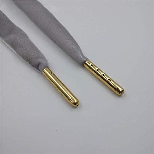 XJYWJ スニーカースポーツシューズ1.27センチメートル幅メタルのヒントフラット片面ベルベット靴ひも靴ひも (Color : 1626 2 Grey Gold tip, Size : 60cm)