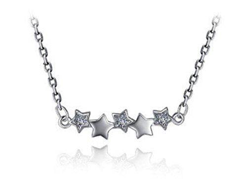 Reminders of Rising Star Lucky Star Choker Delicate Handmade Five Stars Necklace- Small Star Starburst Zodiac Sign Make A Wish Statement Necklace Jewellery ()