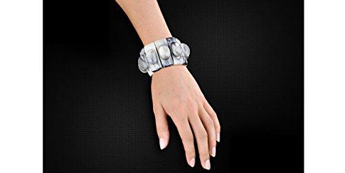 Dominique Denaive Bracelet cabochons Florence en résine, élastique, gris