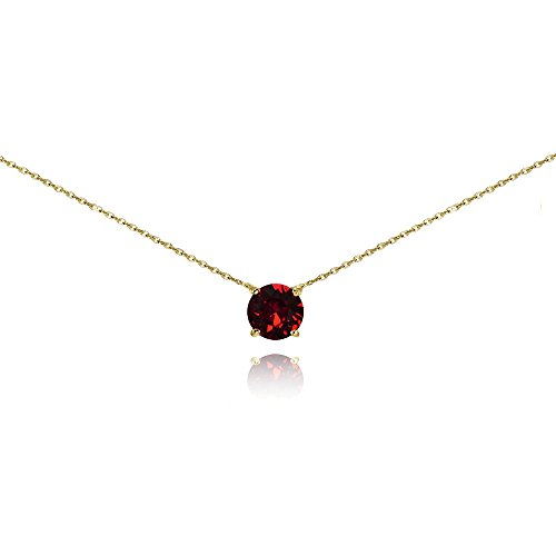 - Yellow Gold Flashed Sterling Silver Dark Red Solitaire Choker Necklace set with Swarovski Crystal