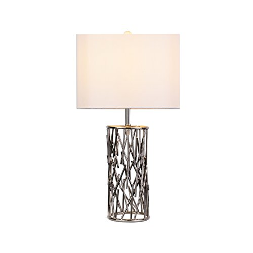 MAYKKE Lulu Table Lamp with Unique Branch Design | Home Office, Bedside, Nightstand, Desk Lamp | White Fabric Shade and Brushed Nickel Finish Base, GQA1020101 (Base Branch Lamp)