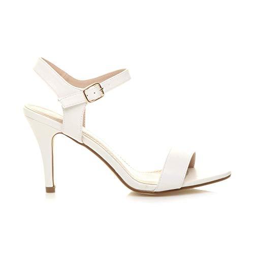 Mat Chaussures Lanières Sandales Femmes Élégant Blanc À Talon Fête Haute Pointure Boucle a6WH8qPw